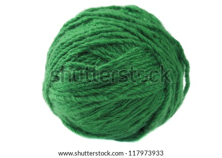 Ball of sea  green yarn isolated on white background - stock photo