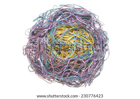 Ball of tangled wires isolated on white background - stock photo