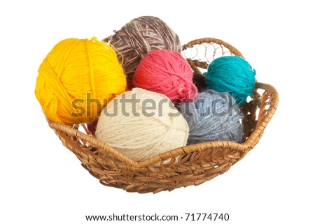 ball of wool  in basket isolated on a white  background - stock photo