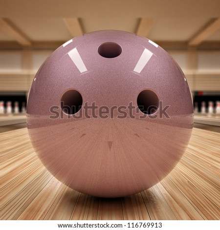 Ball on bowling alley - stock photo