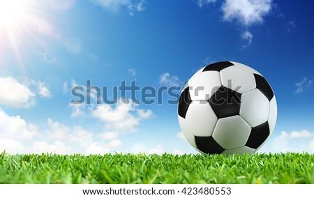 Ball On Grass Of Stadium  - stock photo