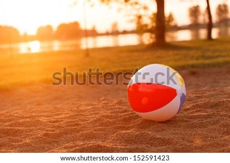 ball on the beach - stock photo