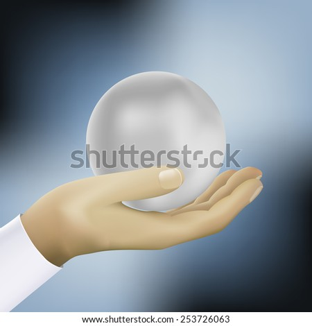ball on the hand - stock photo