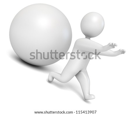 Ball rolling from the mountain. Man flees. Isolated on white background. 3d render - stock photo