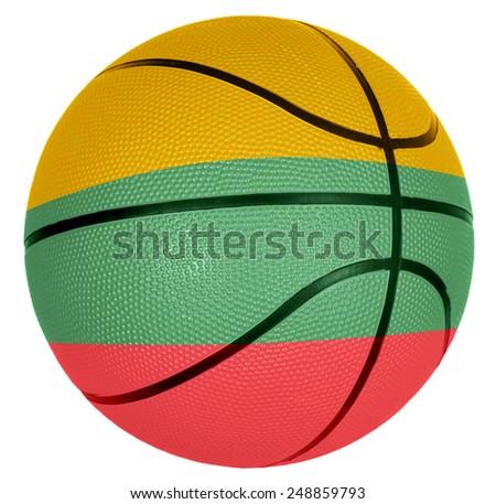 Ball with flag of Lithuania for basketball game - stock photo