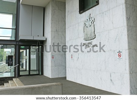 BALLARAT, VICTORIA, AUSTRALIA - December 27, 2015: Ballarat's $30 million Law Courts building (2000), built on the site of the former 1960s gas works, integrates a central police station - stock photo