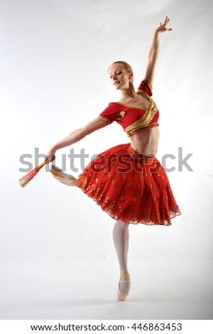 "Ballerina in red tutu ballet ""La Bayadere"" - stock photo"