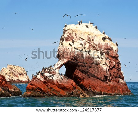 """Ballestas Islands, Paracas National Reserve. The very first Marine Conservation centre in Peru, refer to the prolific wildlife and the great scenery as the """"Galapagos of Peru."""" - stock photo"""