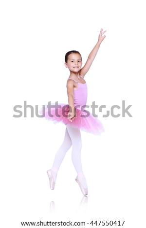 ballet dancer girl in pink pointe and tutu isolated on white, little balerina in quatrieme devant pose. Facing directly front working foot pointing to the front fourth position croisee - stock photo