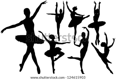 Ballet female dancers silhouettes. Raster version. - stock photo
