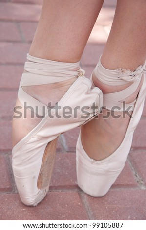 ballet toe shoes - stock photo