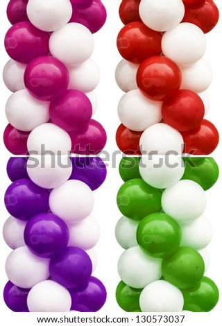 Ballon Set Isolated On White Background With Different Color Decisions - stock photo