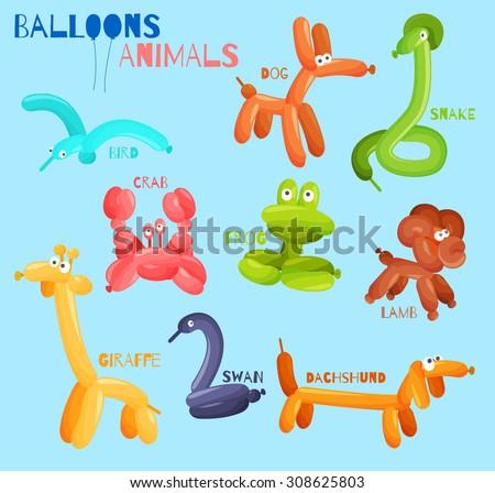 Balloon animals set with dog crab snake bird isolated  illustration - stock photo