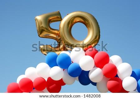 Balloon decorations celebrating 50 years - stock photo