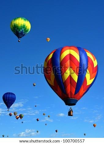 Balloon Festival A mass ascension at the 2011 Albuquerque Balloon Festival - stock photo