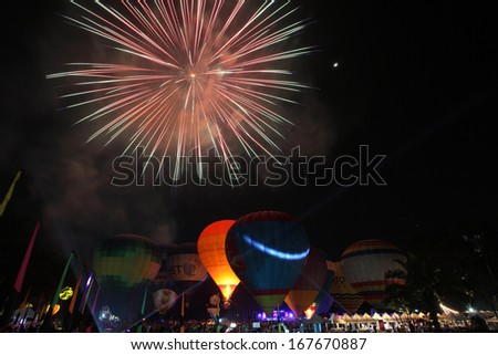 balloon festival with fireworks - stock photo