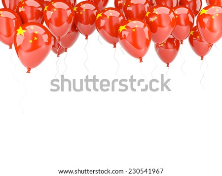 Balloon frame with flag of china isolated on white - stock photo