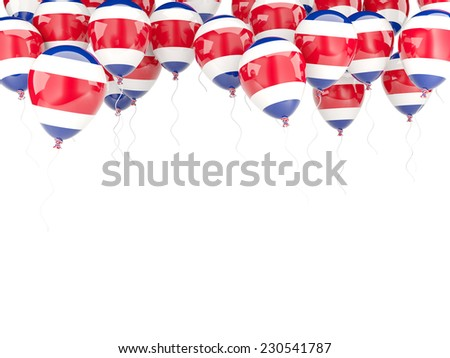 Balloon frame with flag of costa rica isolated on white - stock photo