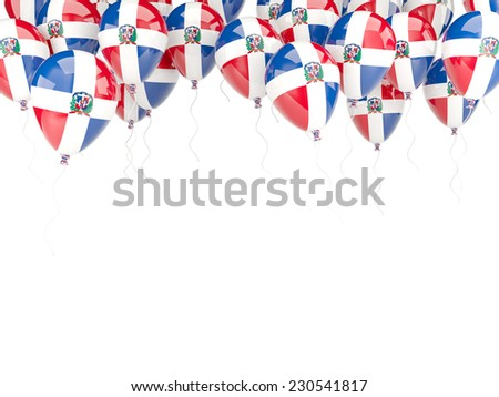 Balloon frame with flag of dominican republic isolated on white - stock photo