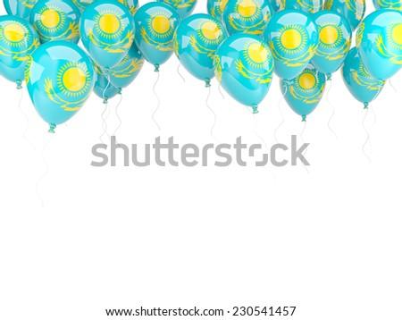 Balloon frame with flag of kazakhstan isolated on white - stock photo