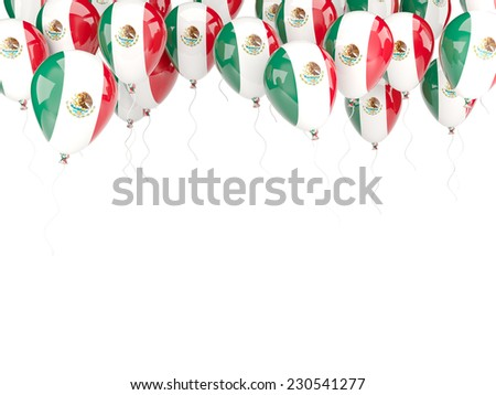 Balloon frame with flag of mexico isolated on white - stock photo