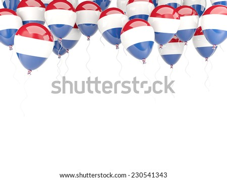 Balloon frame with flag of netherlands isolated on white - stock photo