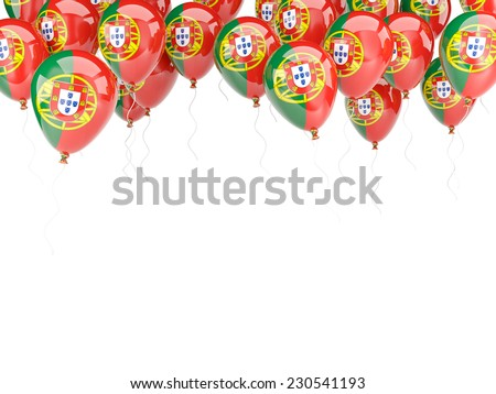 Balloon frame with flag of portugal isolated on white - stock photo