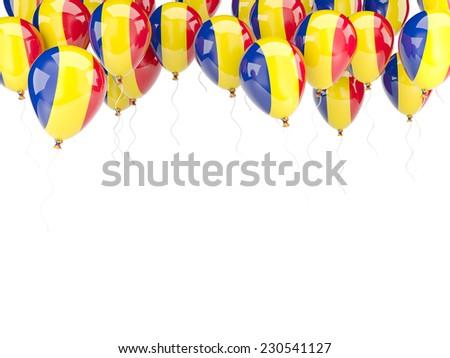 Balloon frame with flag of romania isolated on white - stock photo