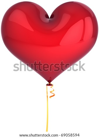 Balloon heart shaped red blank. I Love You greeting card concept. Party Happy birthday decoration. Valentines Day romantic friendship background. Detailed 3d render. Isolated on white background - stock photo