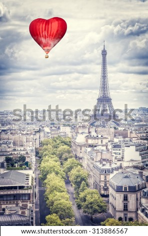 Balloon in the form of heart over Paris - stock photo