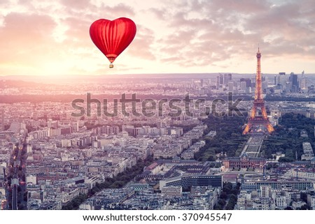 Balloon in the form of heart over the Paris - stock photo