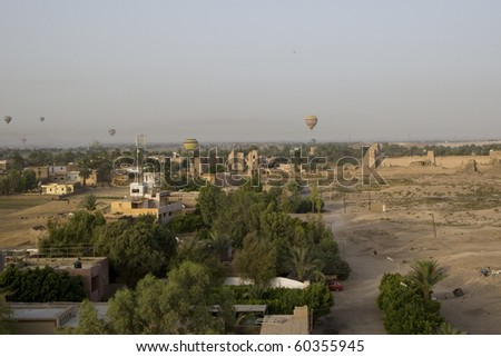Balloon ride over The Nile Valley and The Valley Of The Kings at Luxor, Egypt - stock photo