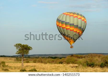 balloon safari in the masai mara - stock photo