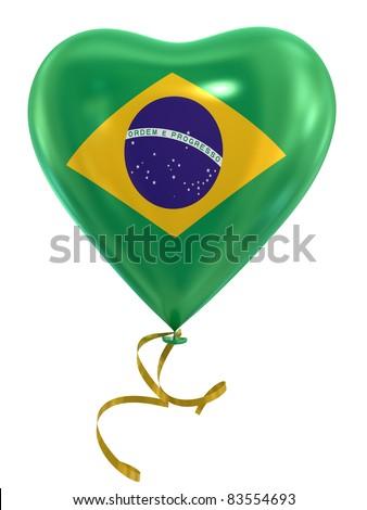 Balloon shape heart flag country Brazil - stock photo
