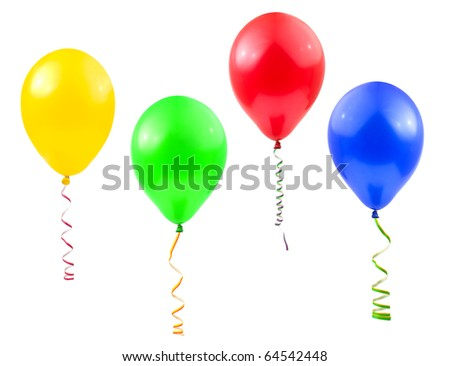 Balloons and streamer isolated on white background - stock photo