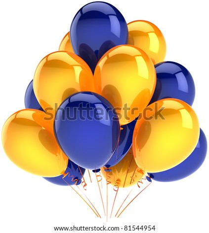 Balloons birthday party decoration yellow blue inflatable balloon. Anniversary occasion celebrate jubilee ceremony life events greeting card design element. 3d render isolated on white background - stock photo
