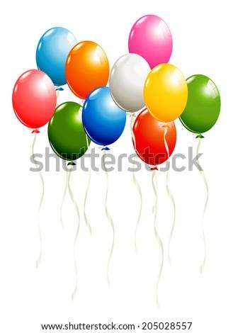 Balloons isolated on white - stock photo