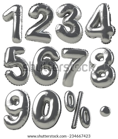 Balloons of numbers & percentage symbols presented in silver metallic style - stock photo