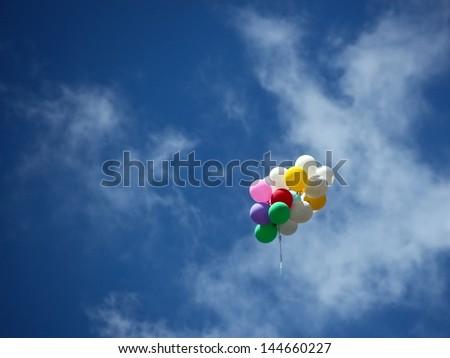 balloons on the sky - stock photo