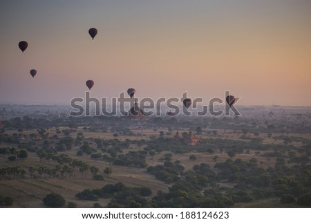 Balloons over Bagan, Myanmar - stock photo