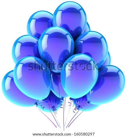 Balloons party happy birthday blue cyan decoration. Joy fun happiness abstract. Holiday anniversary retirement celebration greeting card concept. Detailed 3d render. Isolated on white background - stock photo