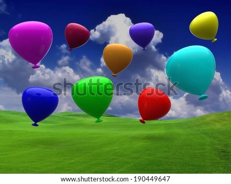 Balloons party happy birthday decoration - stock photo