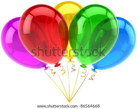 Balloons party happy birthday decoration five multicolored translucent. Joy fun abstract. Holiday anniversary retirement graduation celebrate concept. Detailed 3d render. Isolated on white background - stock photo