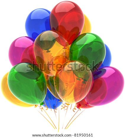 Balloons party happy birthday decoration multicolor translucent. Fun joy good abstract. Holiday anniversary retirement celebration life event occasion concept. 3d render isolated on white background - stock photo