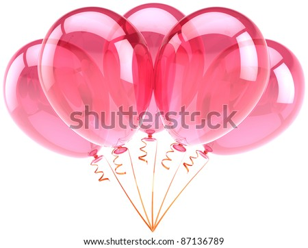 Balloons pink birthday party celebration anniversary decoration. Romantic feeling joy fun abstract. Honeymoon holiday greeting card design element. Detailed 3d render. Isolated on white background - stock photo
