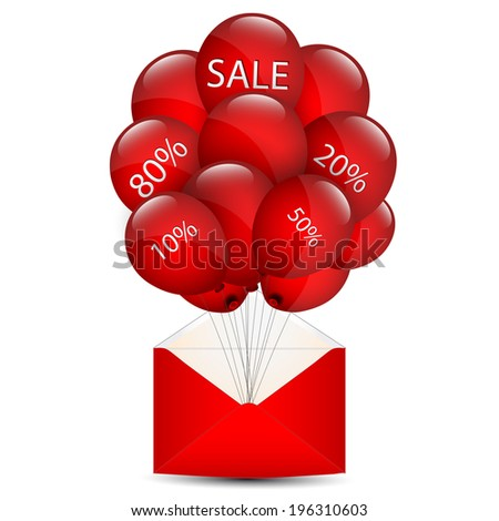 Balloons sale in an envelope - stock photo