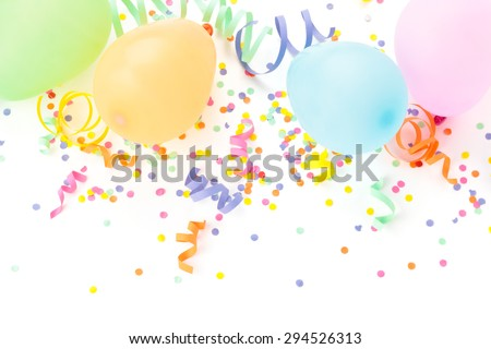 Balloons, streamers  and confetti isolated on white background. - stock photo