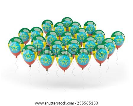 Balloons with flag of ethiopia isolated on white - stock photo