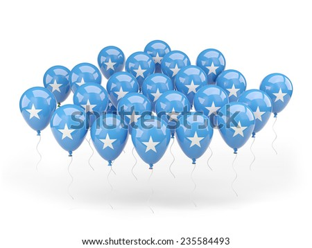 Balloons with flag of somalia isolated on white - stock photo