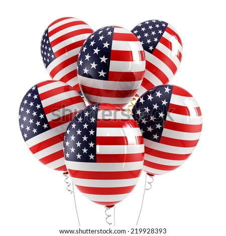 Balloons with Flag of USA - stock photo